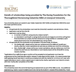 Racing Industry MBA Scholarship Terms and Criteria