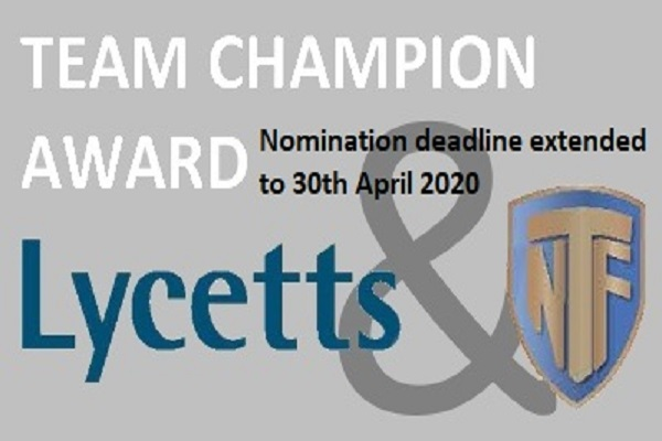 Shortlisted finalists announced for the 2020 NTF Lycetts Team Champion Award Image
